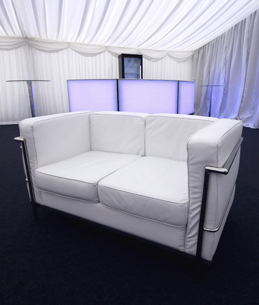 White 2 seater sofas